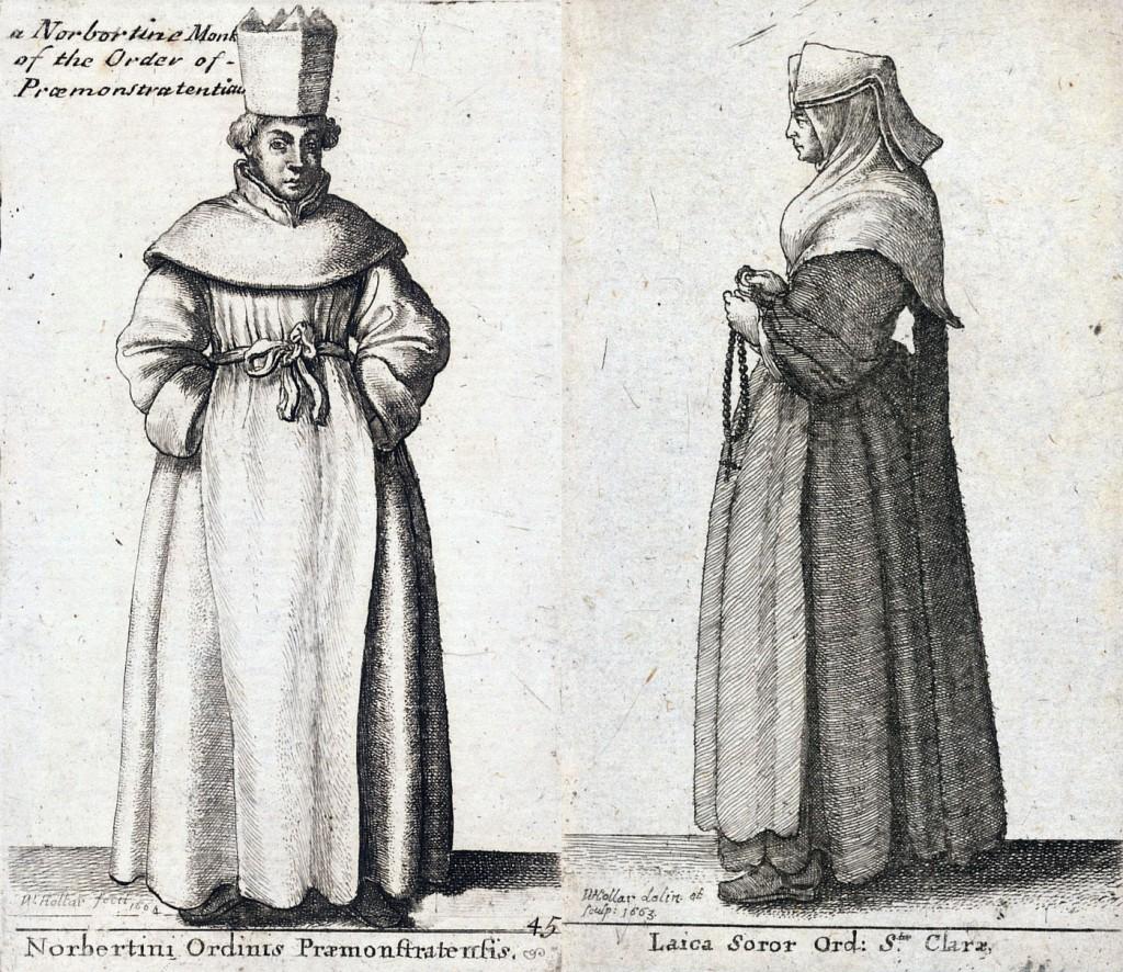 Premonstrát a klariska na vyobrazení od Václava Hollara ze 17. století (Zdroj: Wikimedia, Volné dílo)