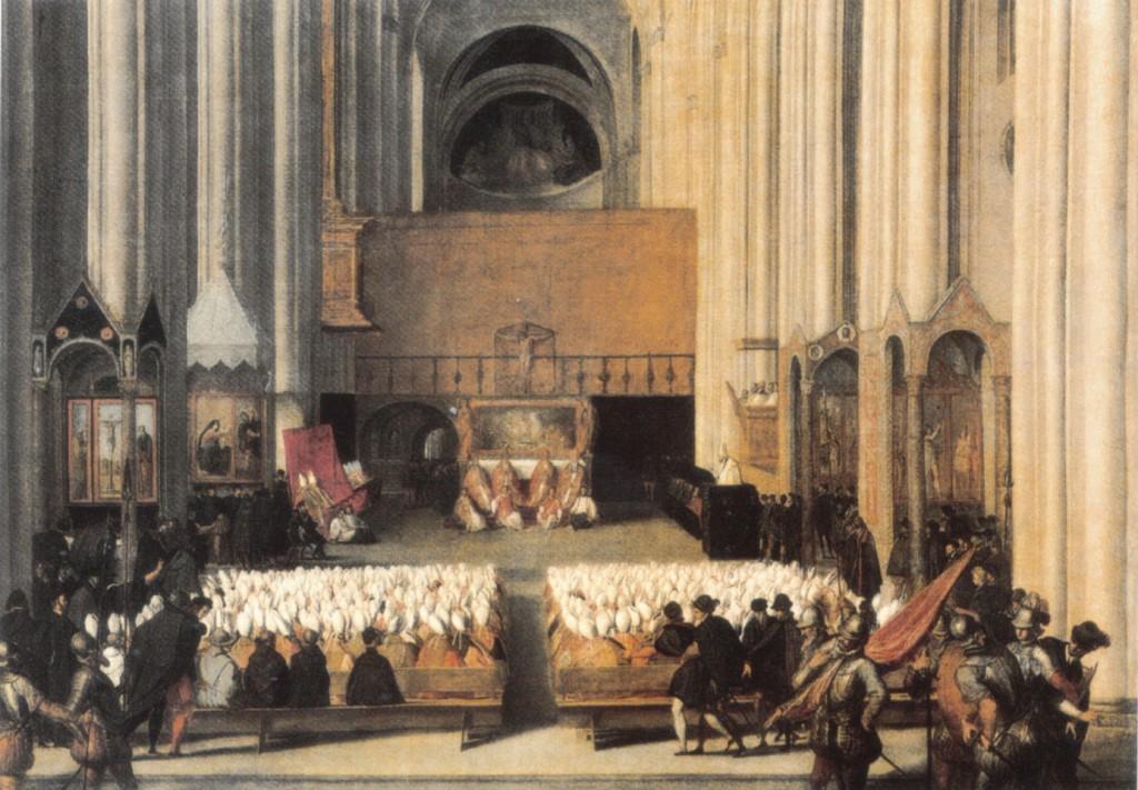 Tridentský koncil na malbě Paola Farinatise (Zdroj: Wikimedia, Volné dílo)