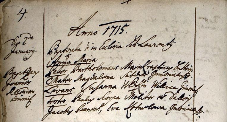 Ukázka matričního zápisu z roku 1715 v matrice pokřtěných v kostele sv. Vavřince v Butovicích (vikariát velvarský) (Zdroj: převzato z (Semotanová et al. 2014))