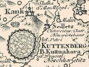 Výřez z Müllerovy mapy Čech z roku 1720 – Kutná Hora